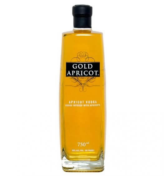 Gold Apricot Vodka, bottle on white, feature imaged