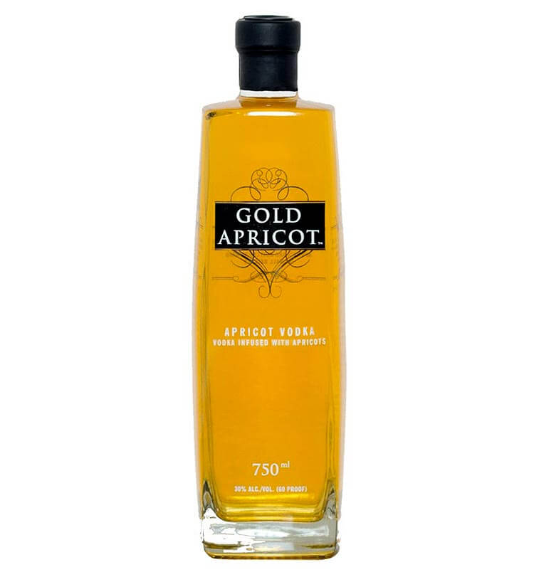 Gold Apricot Vodka, bottle on white