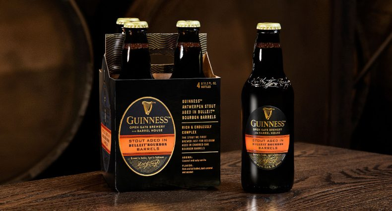 Guinness Barrel-Aged Beer Aged in Bulleit Bourbon Barrels, bottles and package, featured image