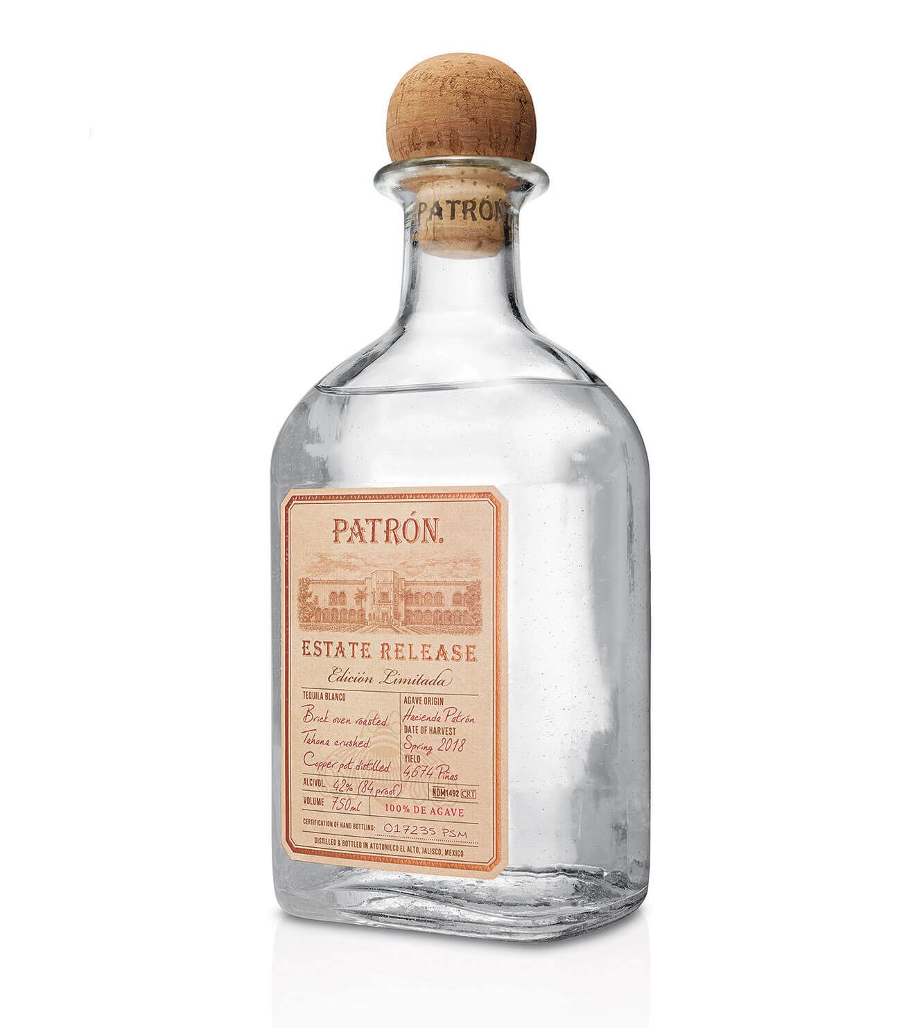 Patrón-Estate, limited release bottle, white background