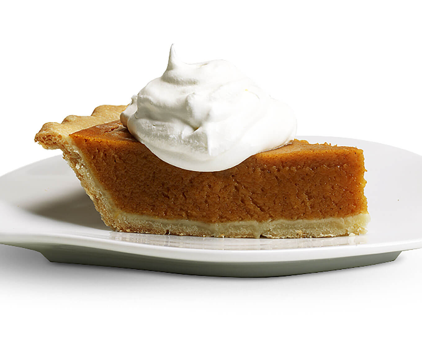 RumChata Pumpkin Pie, with whipped cream, on white plate