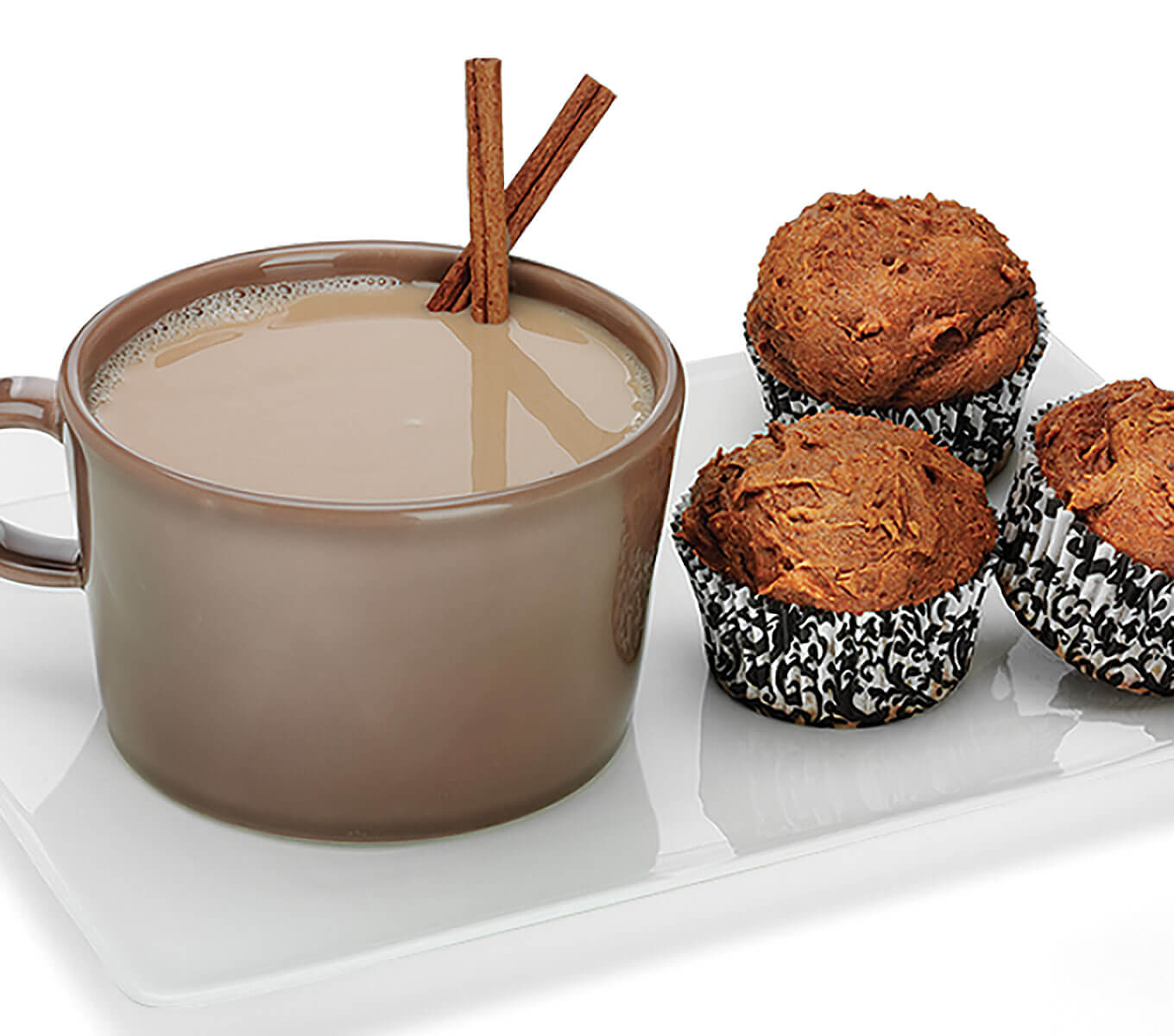 RumChata Pumpkin Spice Muffins, with hot cocoa, cinnamin sticks
