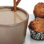 RumChata Pumpkin Spice Muffins, with hot cocoa, cinnamin sticks, featured image