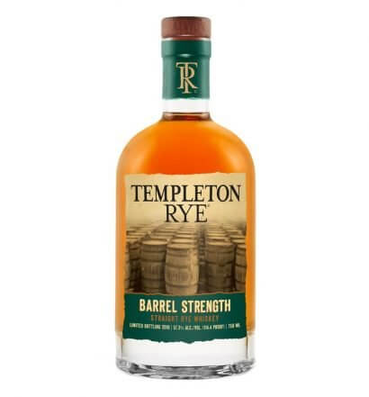 Templeton Rye Barrel Strength Straight Rye Whiskey, bottle on white, featured image