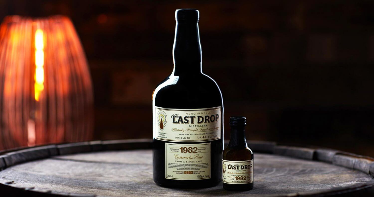 The Last Drop 1982 Bourbon, bottles on barrel, featured image