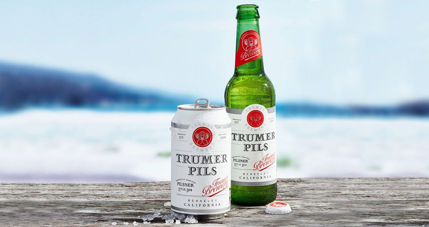 Trumer Pils New Packaging Design, bottle and can, beach scene, featured image