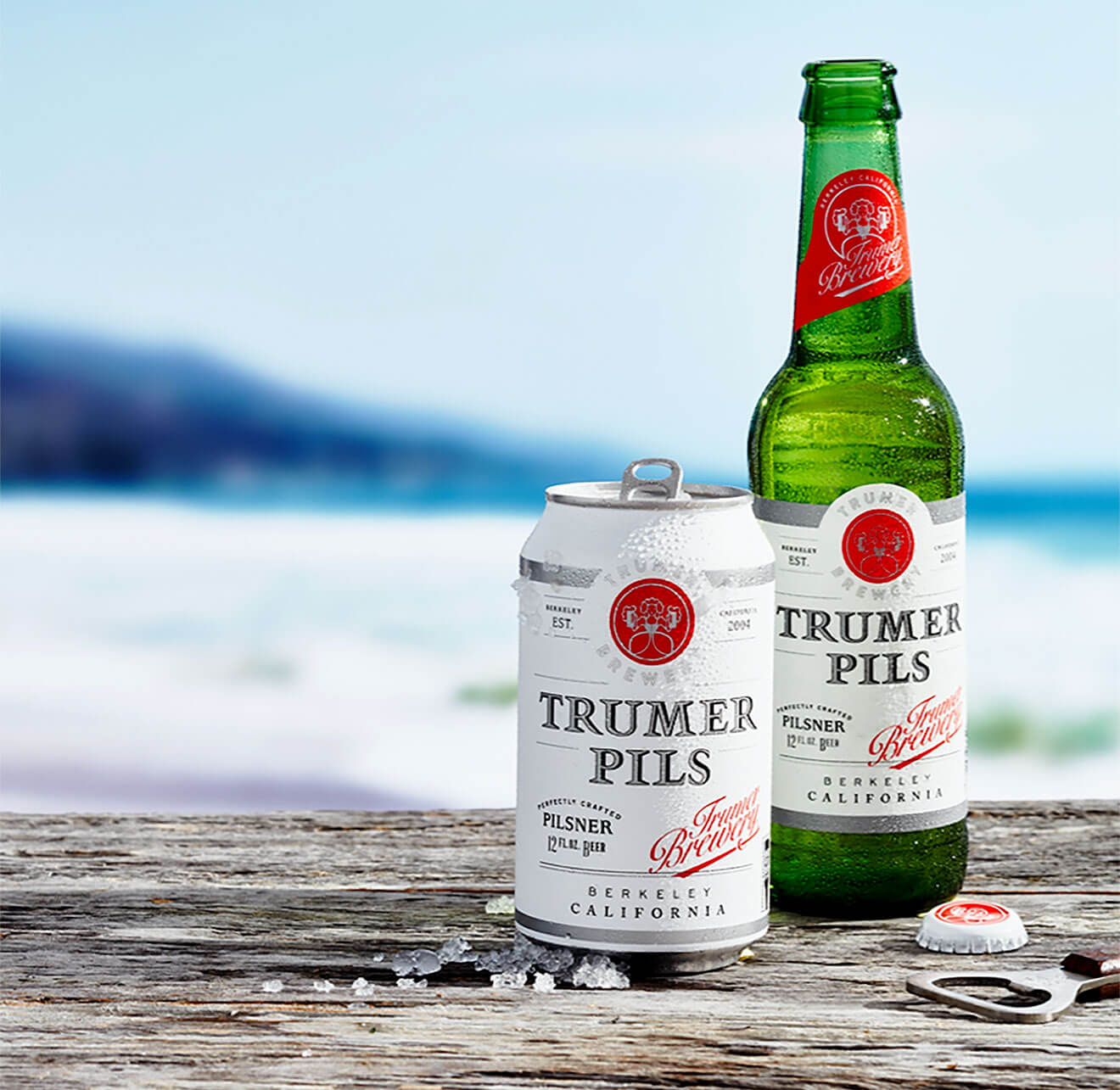 Trumer Pils New Packaging Design, bottle and can, beach scene