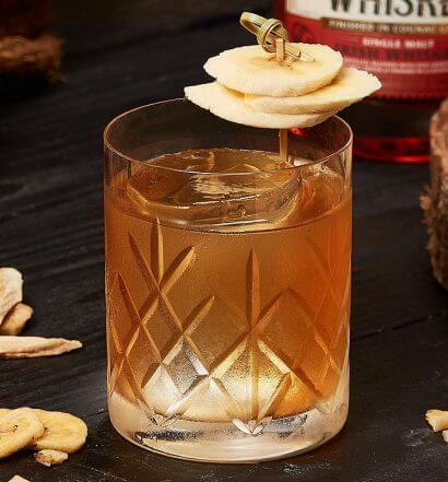 Banana New Fashioned, cocktail with garnish, featured image