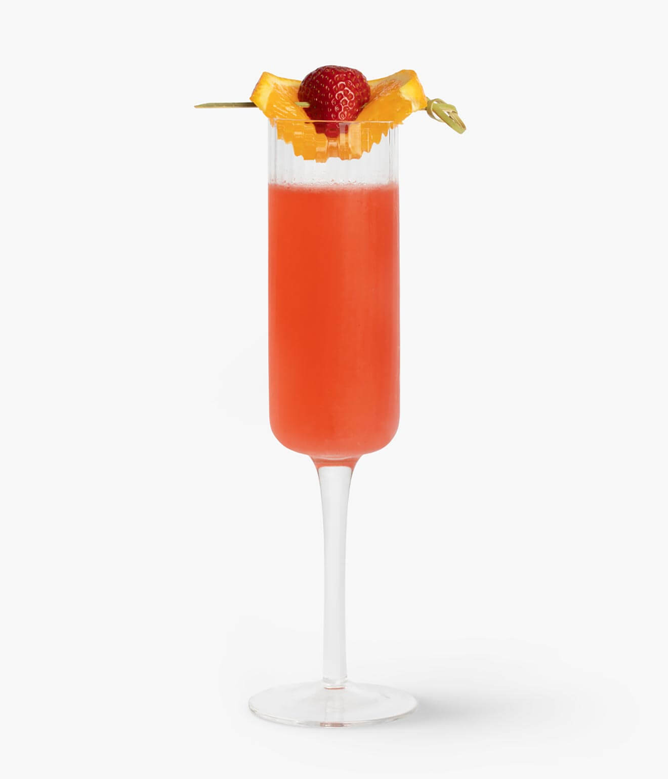 Beefeater Pink Mimosa, cocktail with garnishes on white