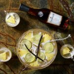 CAMUS Christmas Punch, cocktail, cups and bottle overhead view, featured image