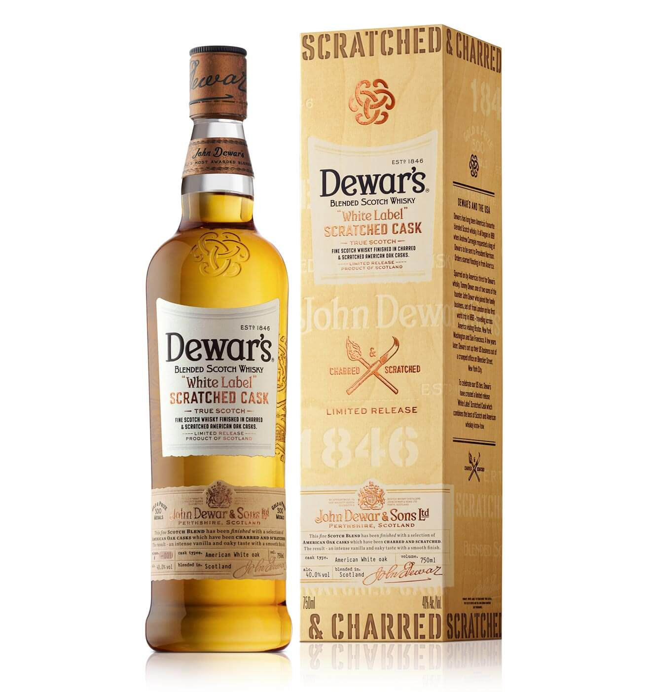 Dewar's Scratched Cask, bottle and package on white