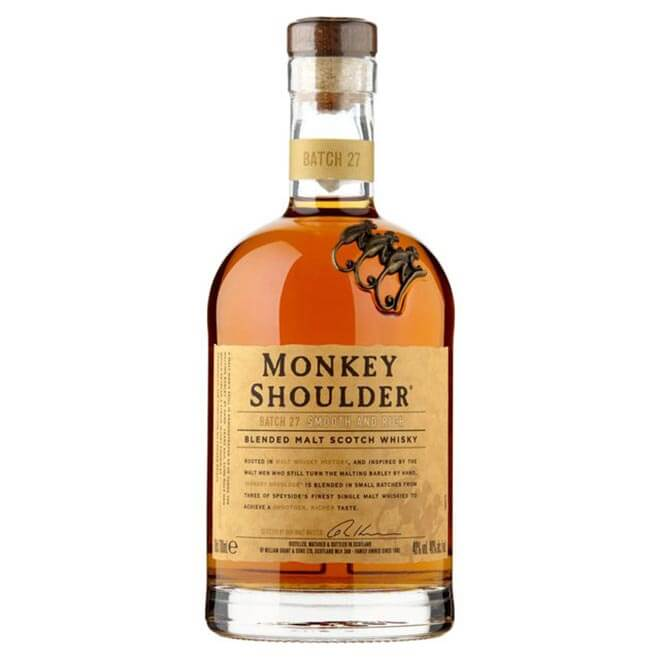 Monkey Shoulder bottle on white