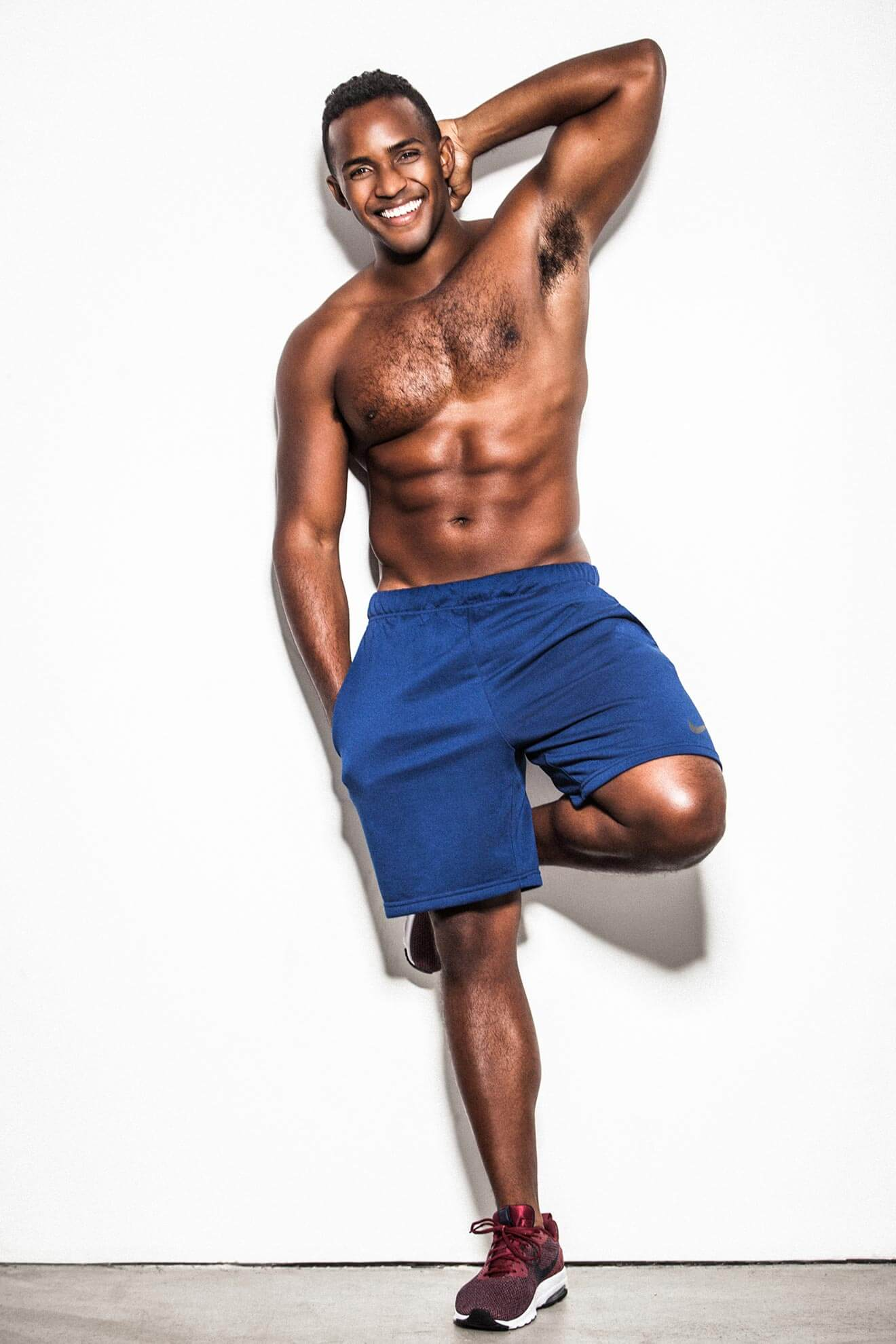 Chillin' with Sterling Sulieman, blue shorts topless pose