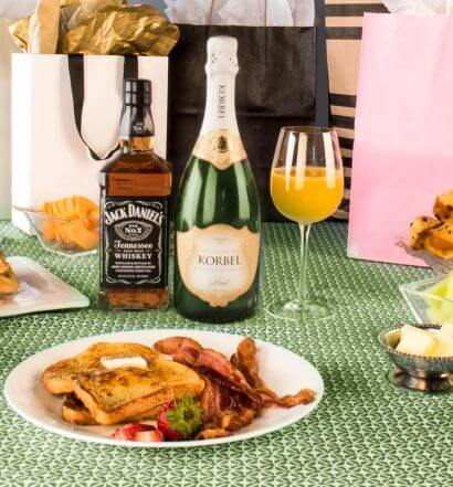 Tennessee Mimosa, bottle, cocktails and brunch plates, featured image
