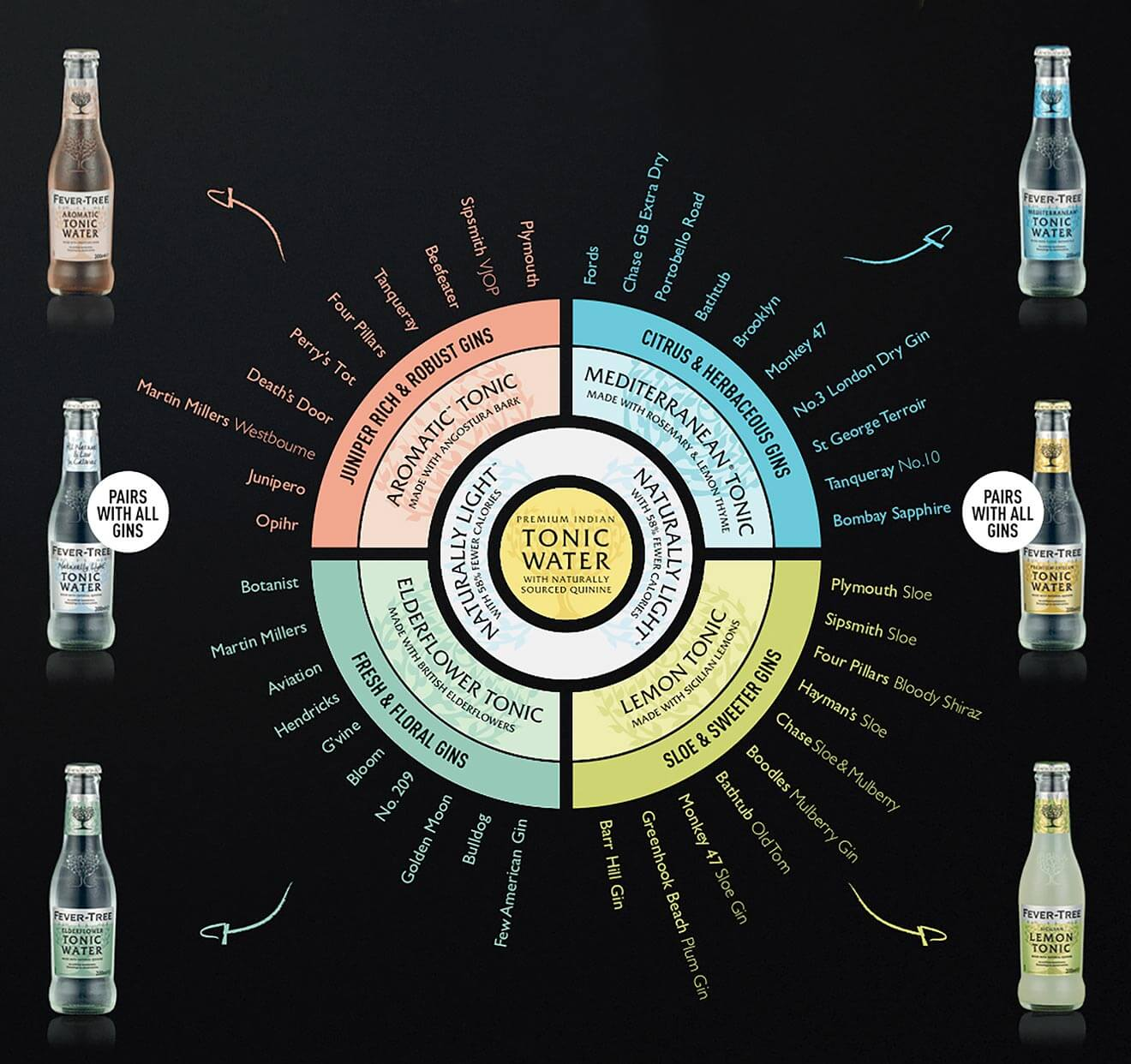 Ultimate Gin & Tonic Pairing Guide, inforgraphic on dark background