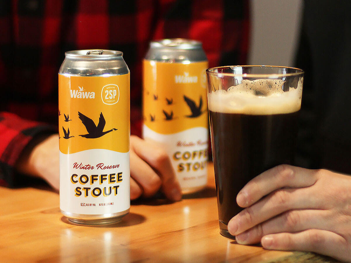 Winter Reserve Coffee Stout, cans and draft pour