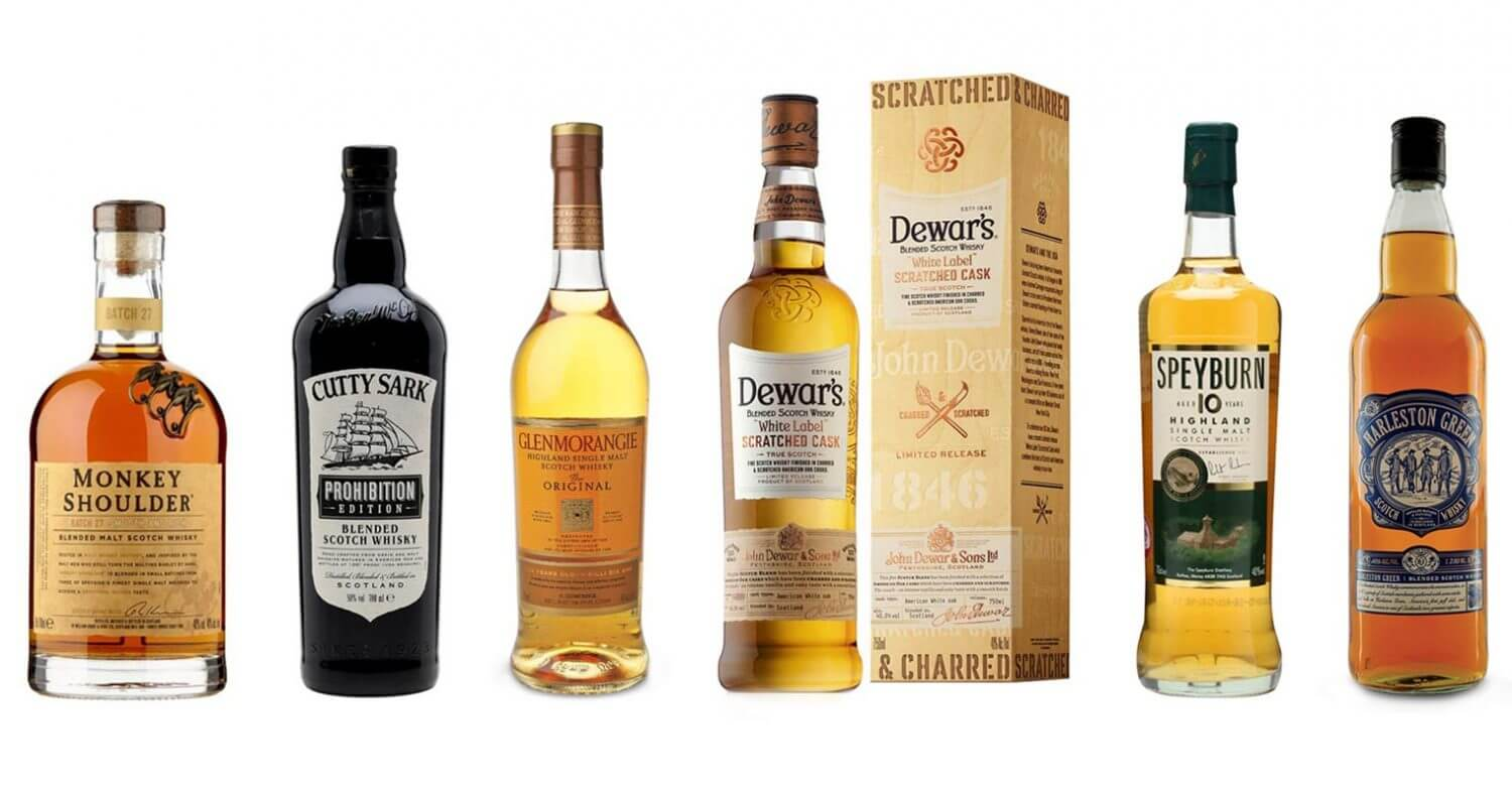 6 Great Bottles of Scotch bottles, lineup of bottles on white back, featured image