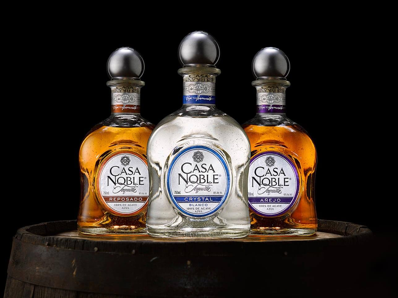 Casa Noble bottle varieties on black background