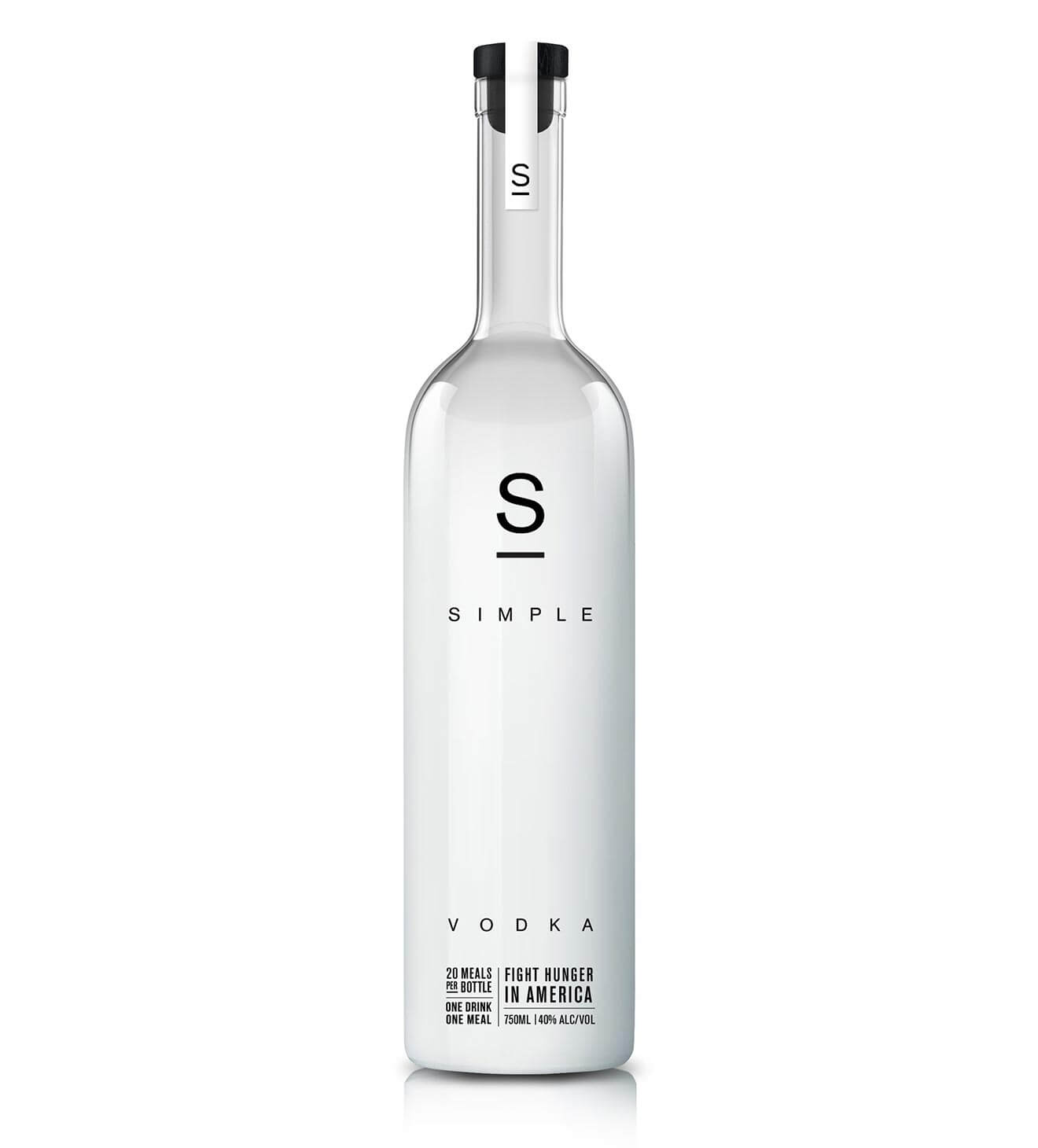 simple vodka bottle on white background