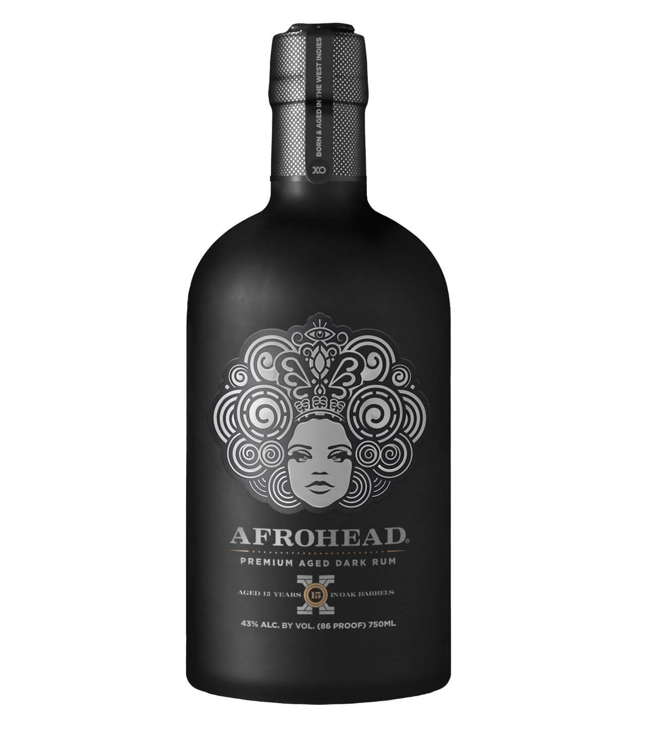 Afrohead Premium Aged Dark Rum, black bottle on white