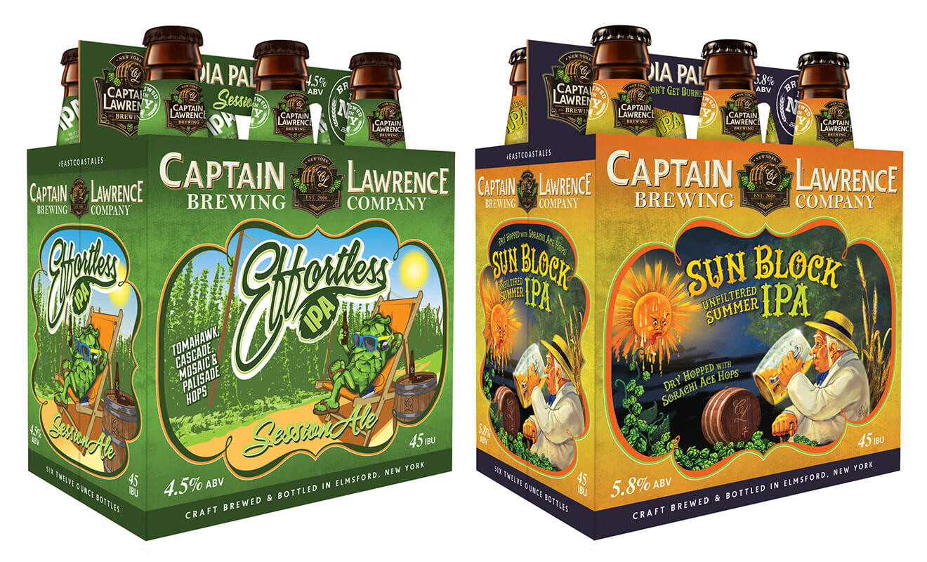 Captain Lawrence Brewing Company Effortless IPA and Block, packaging on white