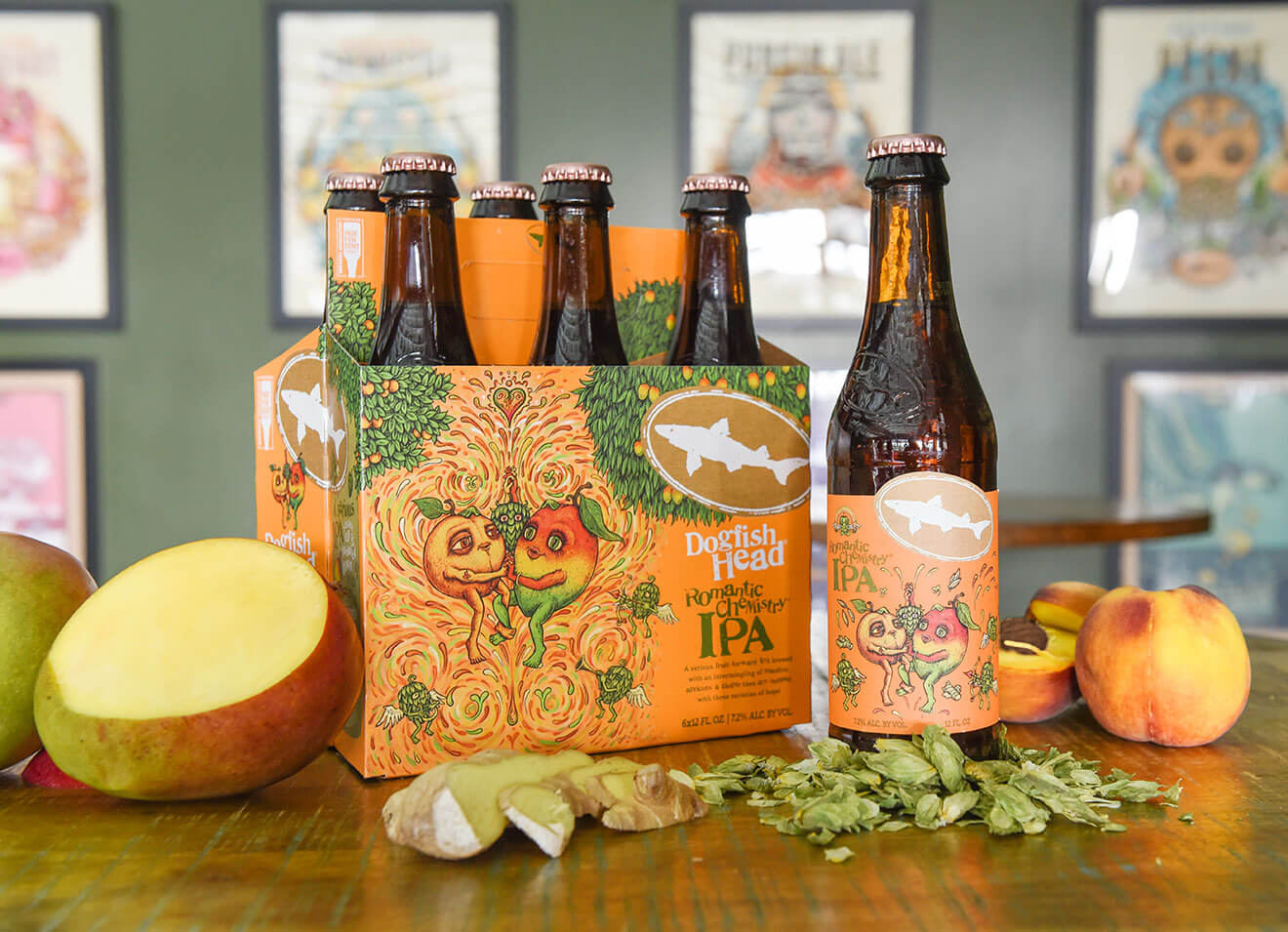 Dogfish Head Brewery Romantic Chemistry, packaging, bottle and fruit garnish