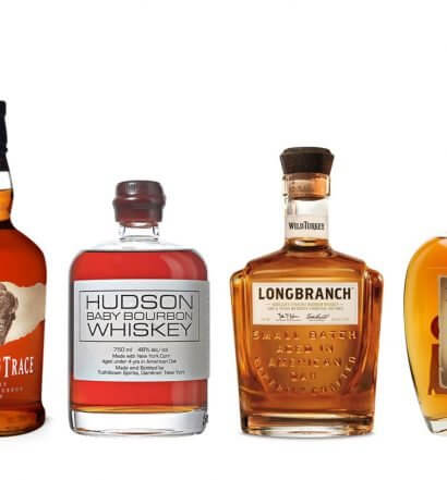 Best Bourbons for an Old Fashioned, bottle varieties on white, featured image