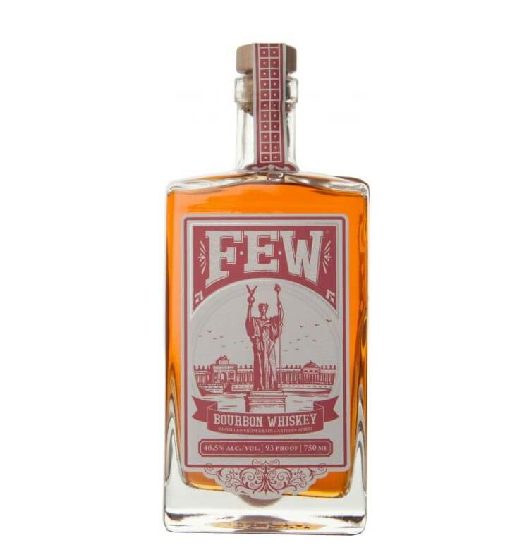 FEW Spirits Bourbon Whiskey, bottle on white