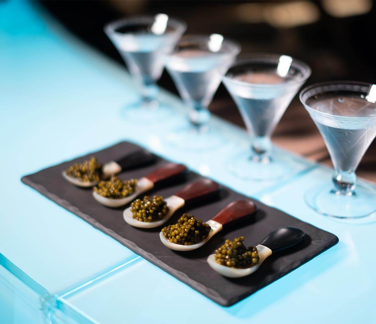 Lebua No. 3 Caviar Flight, paired with martinis