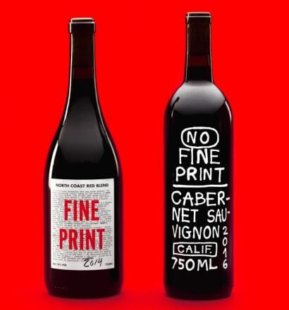 No Fine Print Red, bottles on red, featured image