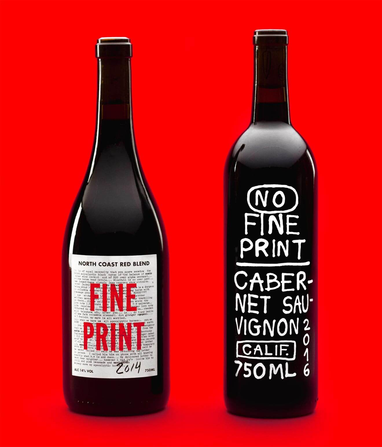 No Fine Print Red, bottles on red