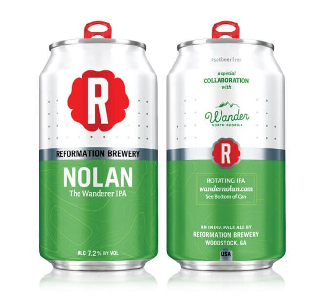 Reformation Brewery Nolan The Wanderer IPA, cans on white