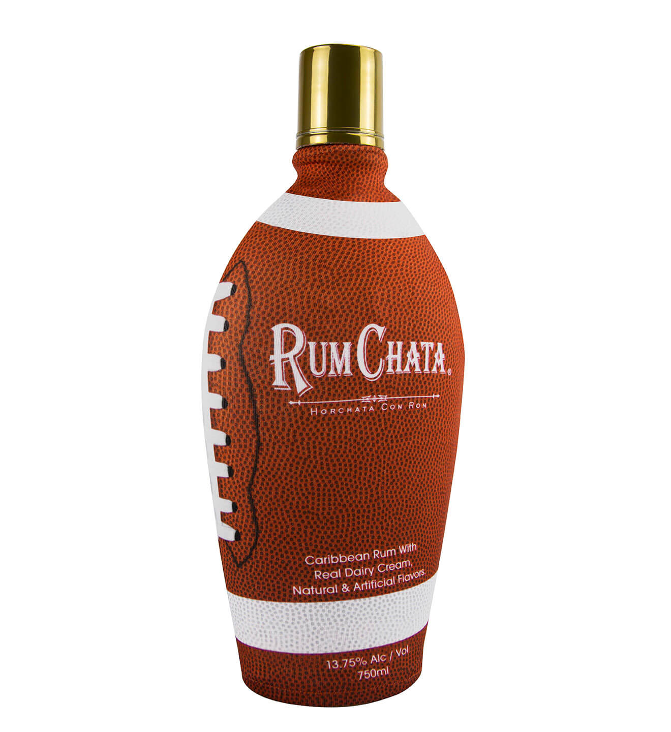 RumChata Football Sleeve, with bottle on white