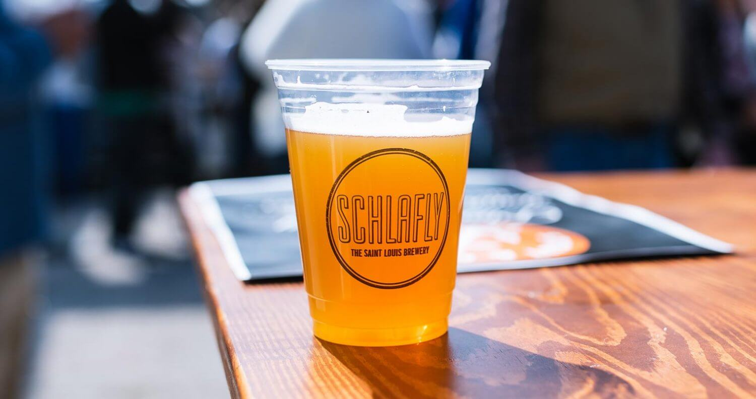 Schlafly, beer in plastic cup on table, featured image