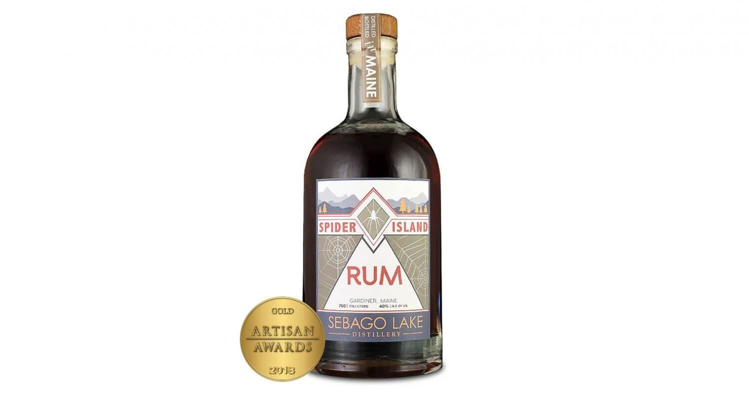 Spider Island Rum, bottle with award on white, featured image