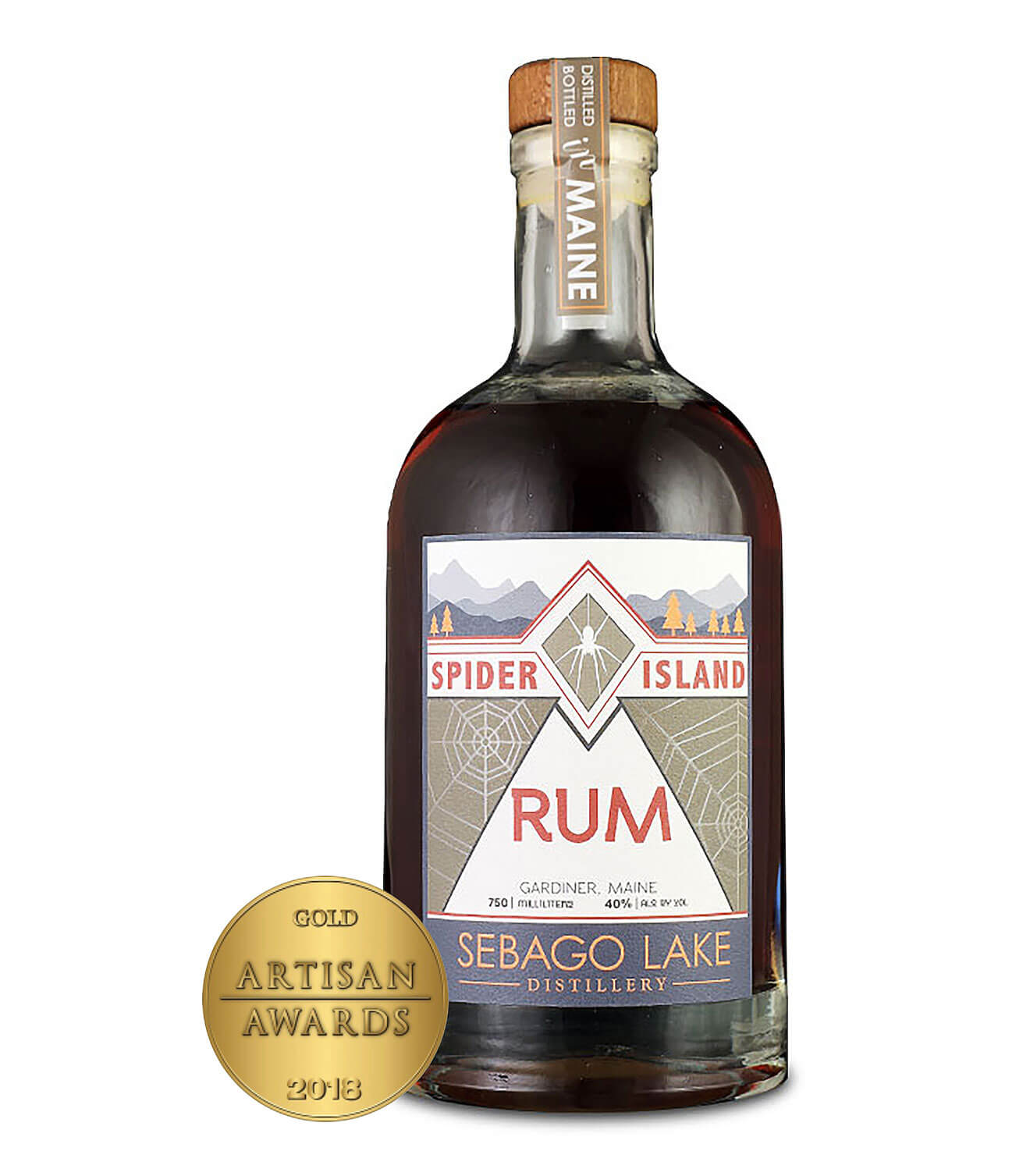 Spider Island Rum, bottle with award on white