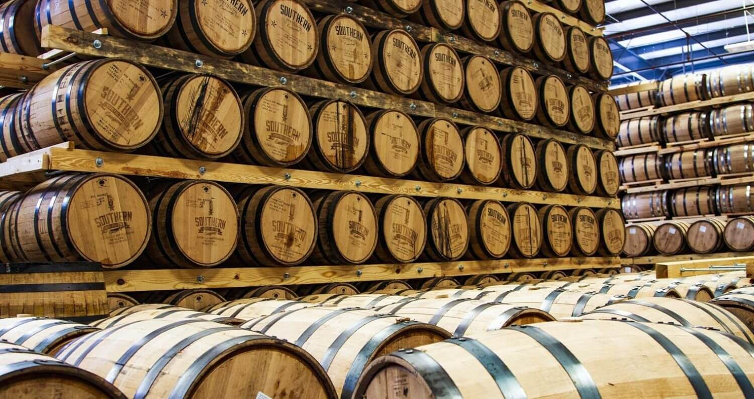 Southern Distilling Company, barrel room, featured image