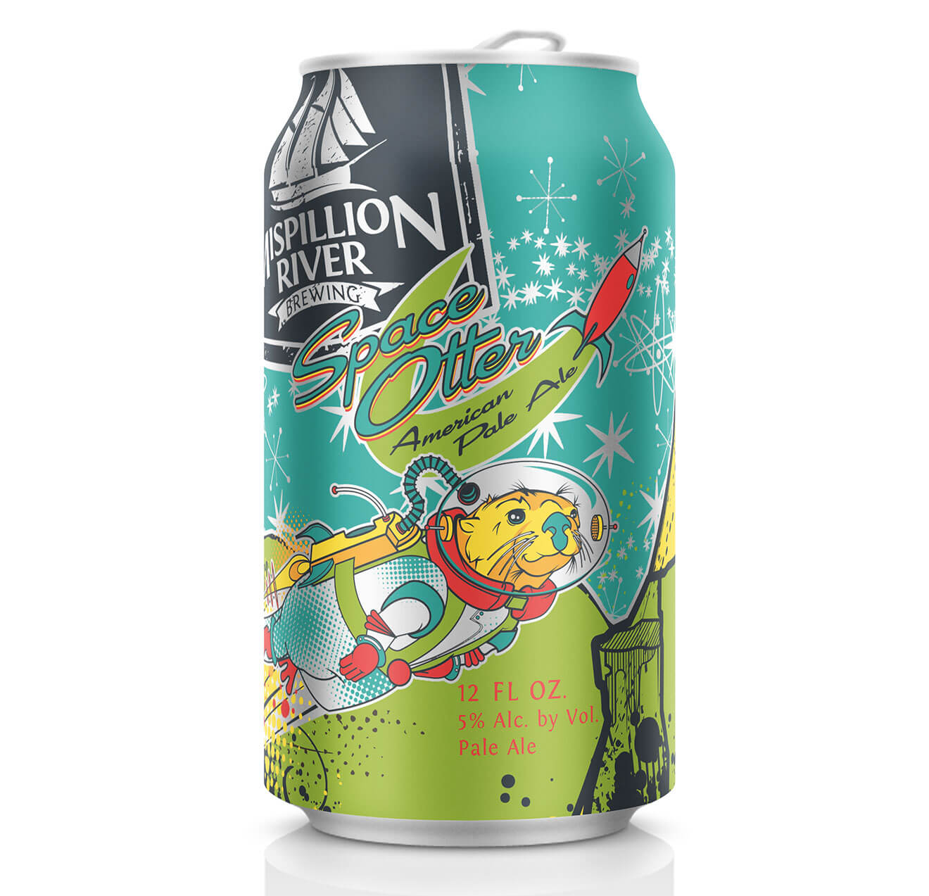 Mispillion River Brewing Space Otter, can on white