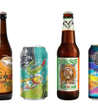 Cool Craft Beer Labels, bottles on white, feature dimage