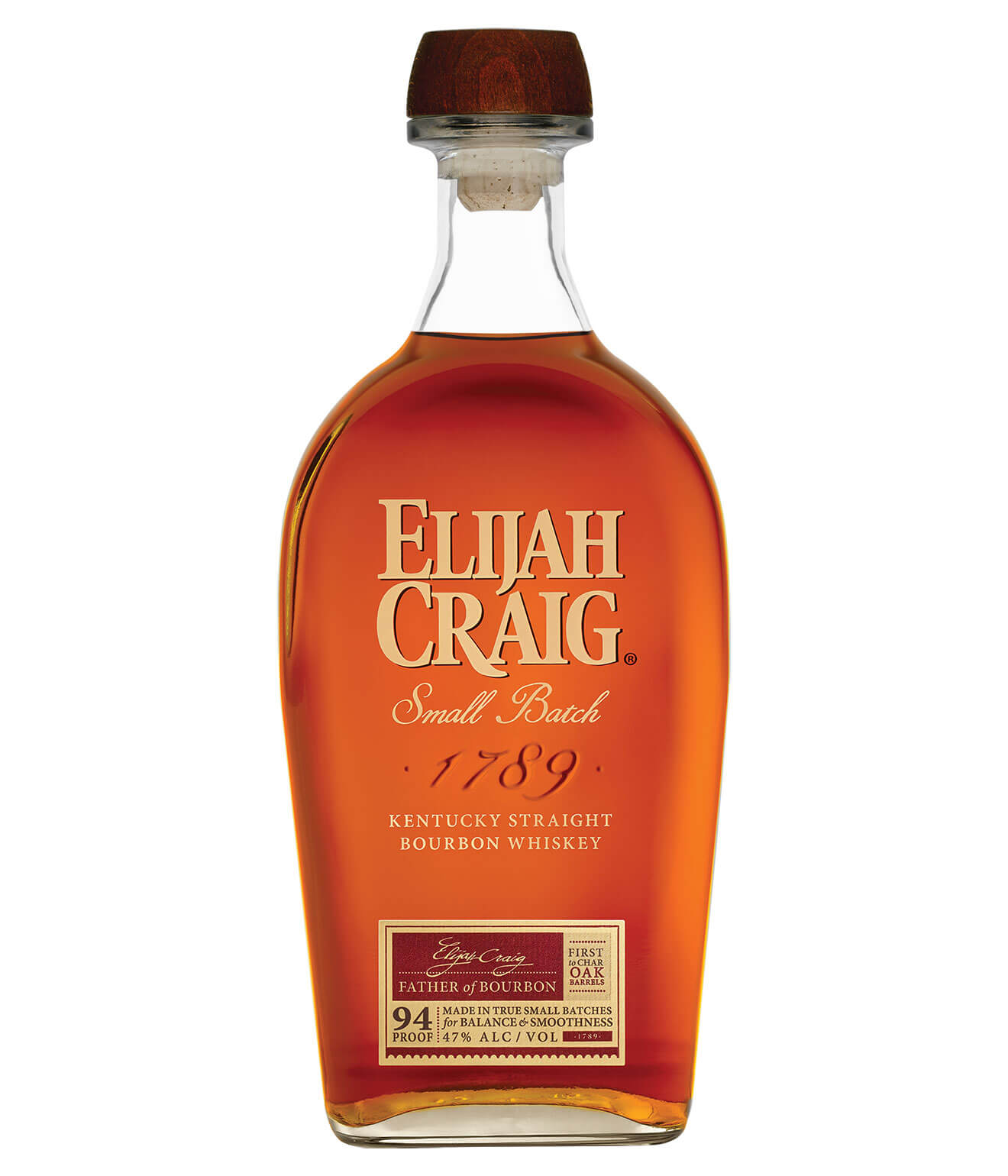 Elijah Craig Small Batch 1789, bottle on white