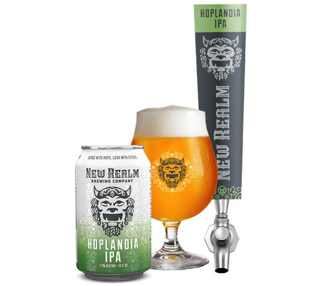 New Realm Brewing Hoplandia IPA, can glass and tap on white
