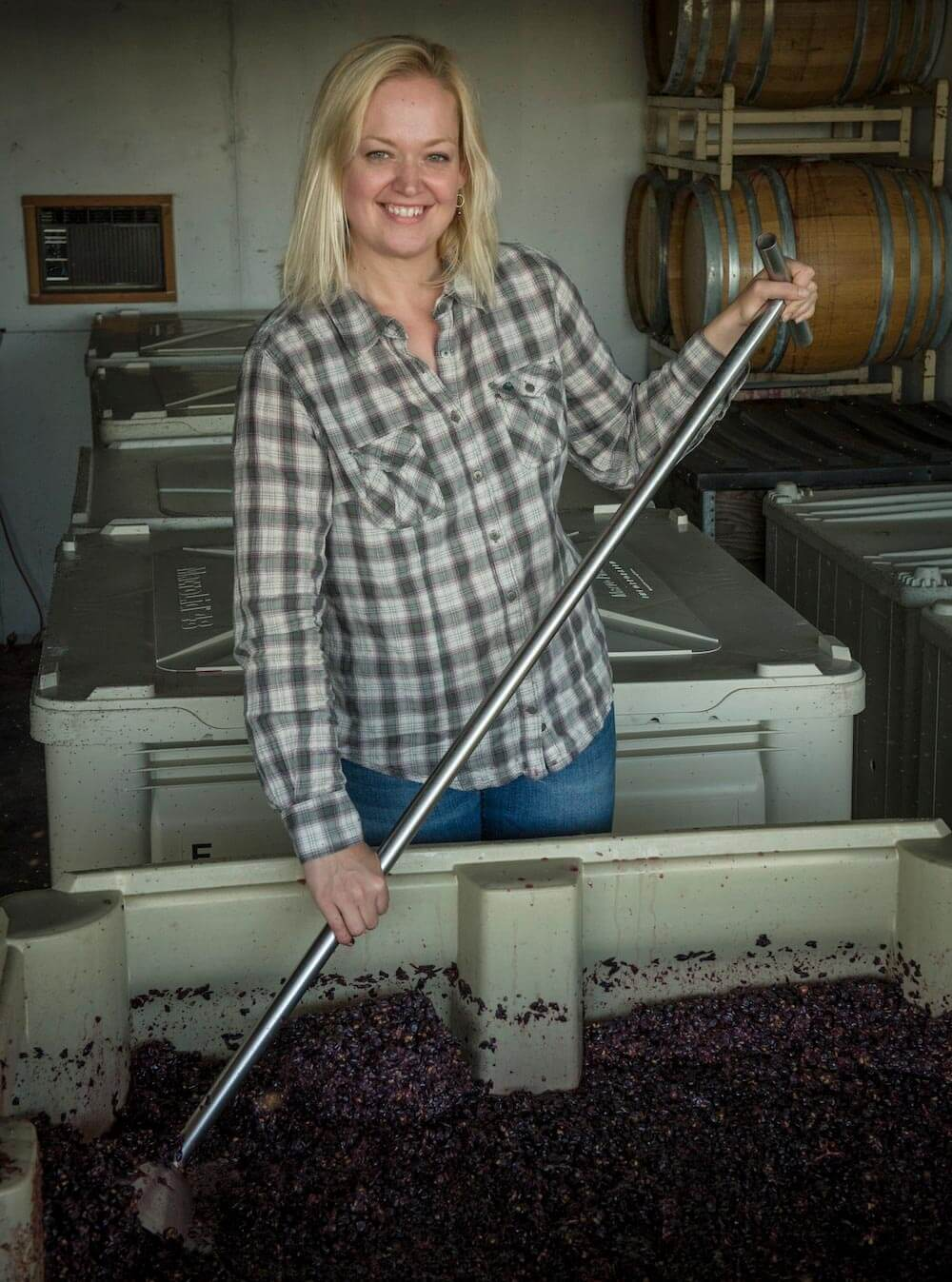 Kim Kramer Mashing Grapes