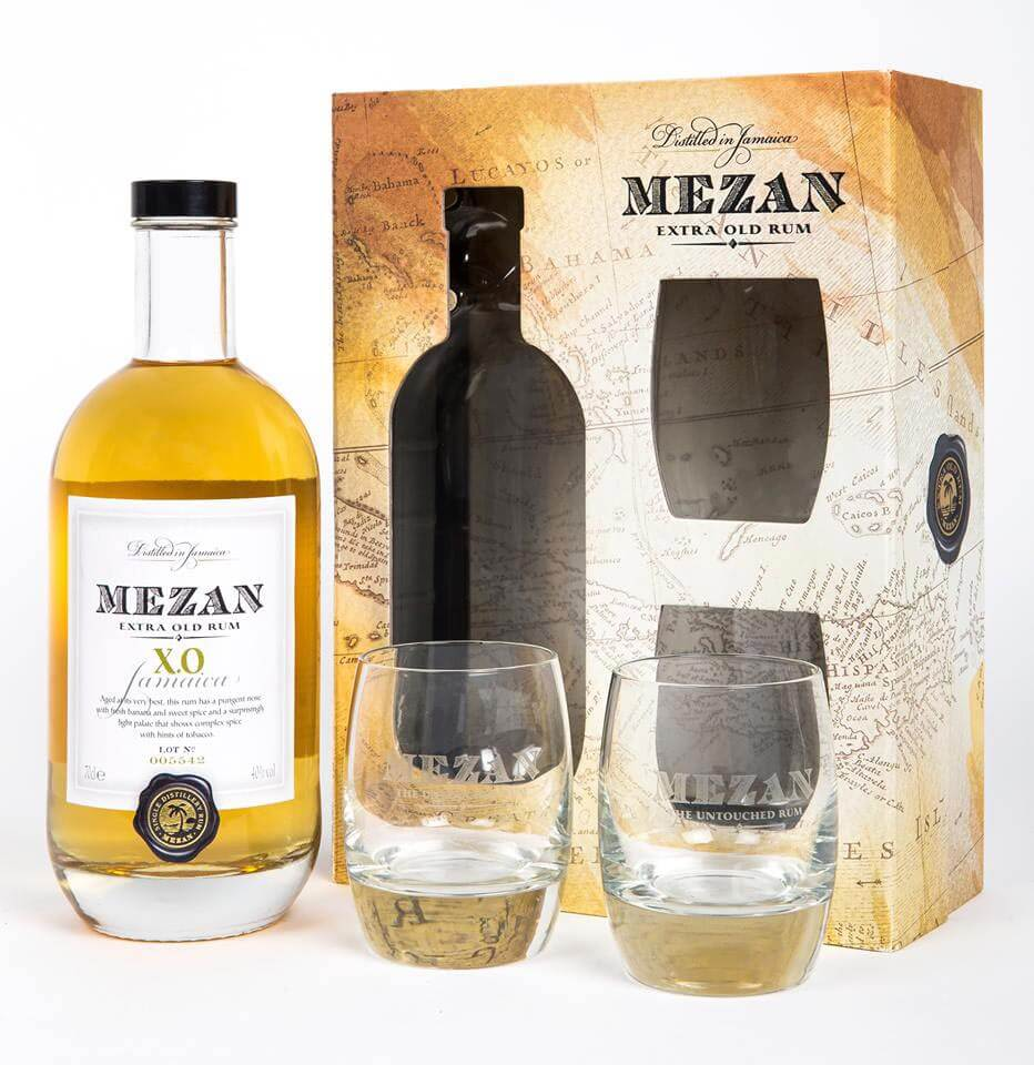 Mezan XO, bottle and gift package on white