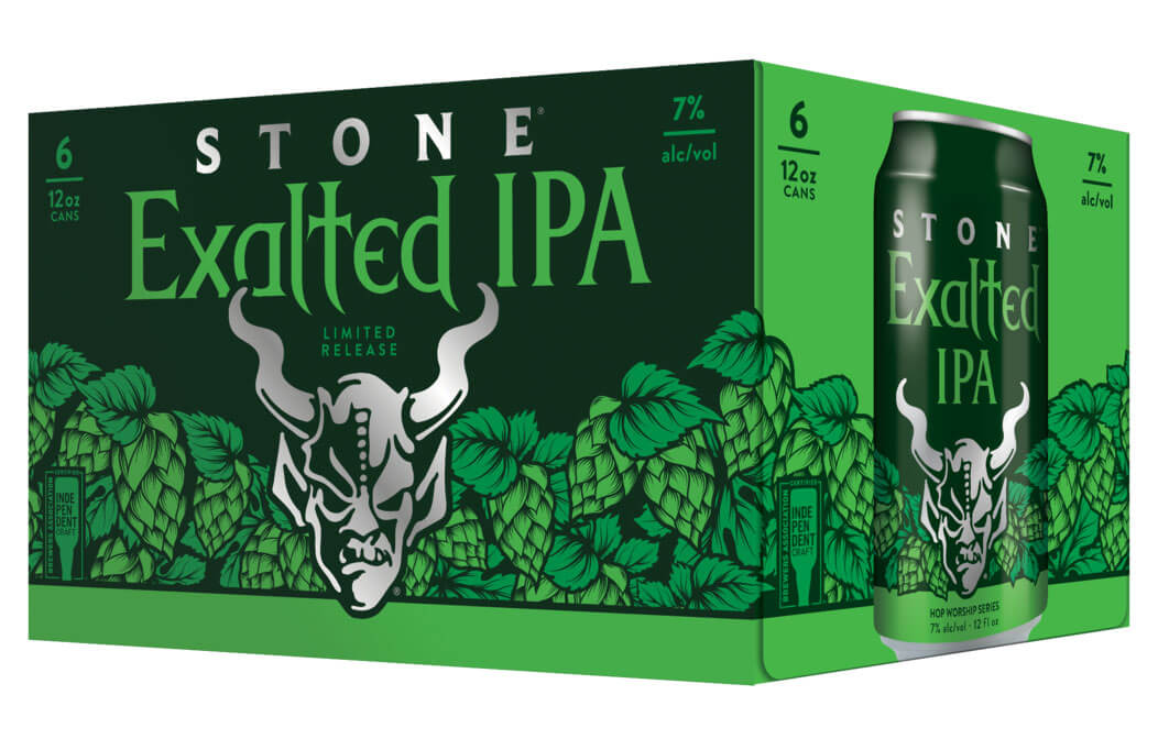 Stone Brewing Exalted IPA, 6 pack packaging on white