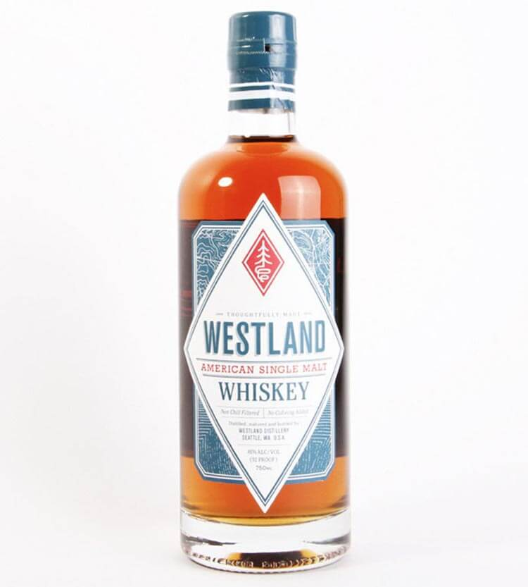 Westland American Single Malt, bottle on white