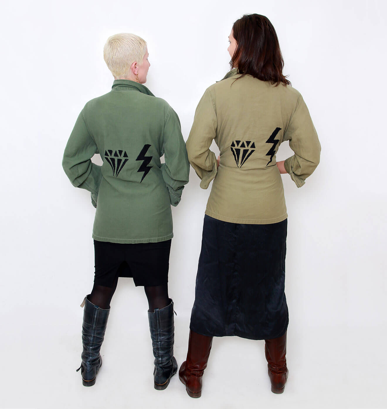 AdrinAdrina & Elliott Coon, backs facing, logo jackets