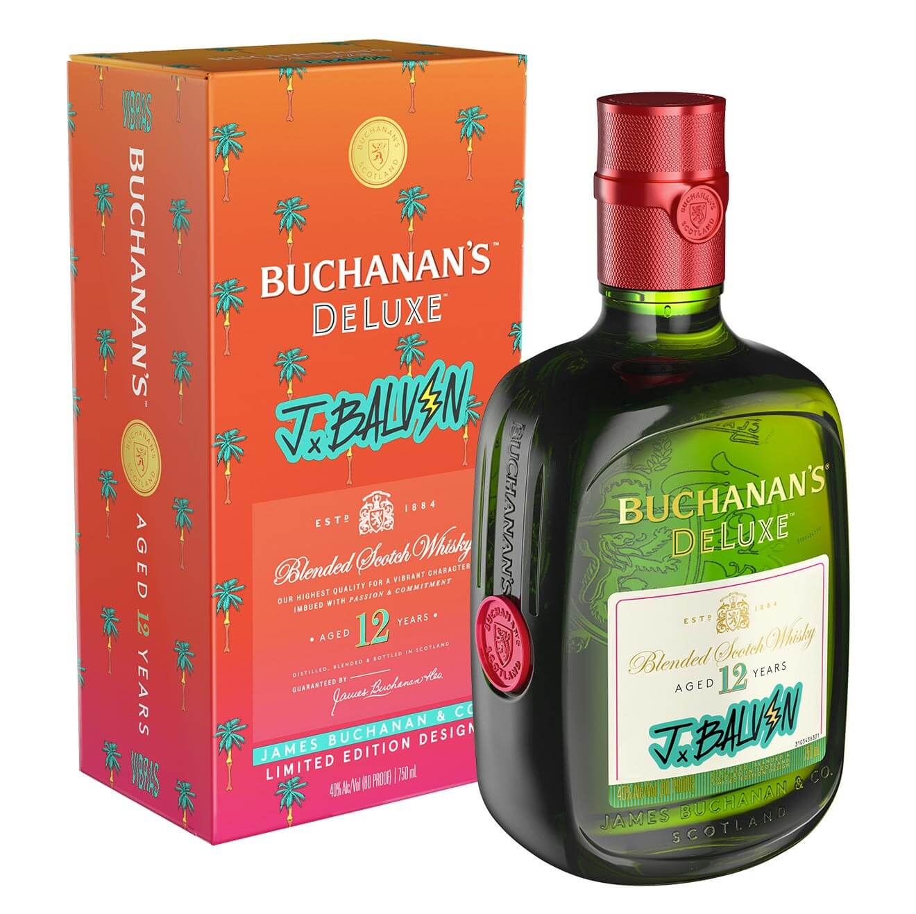 Buchanan's DeLuxe Blended Scotch Whisky x J Balvin Limited Edition, bottle and packaging on white