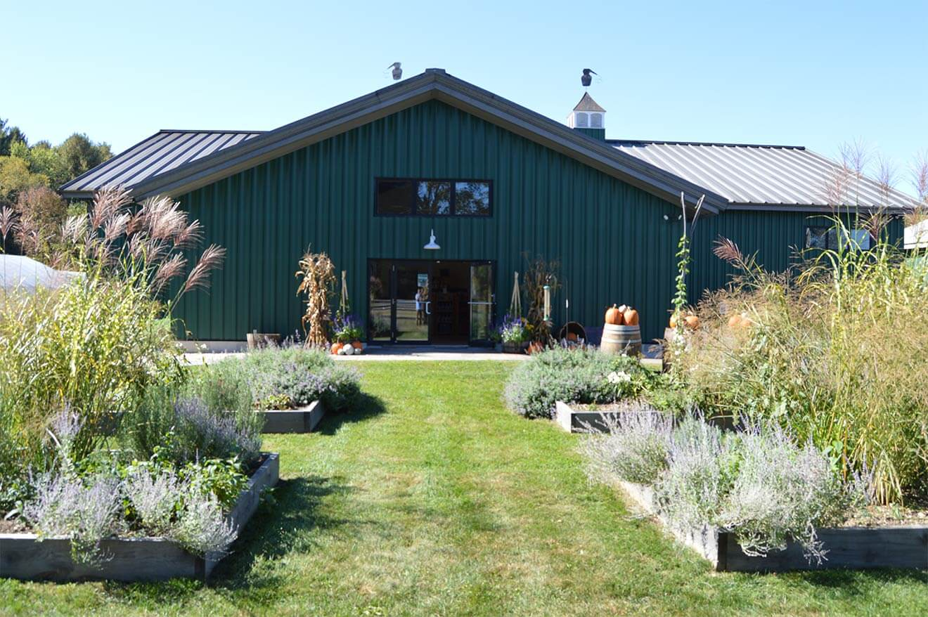 Berkshire Mountain Distillers front entrance and garden