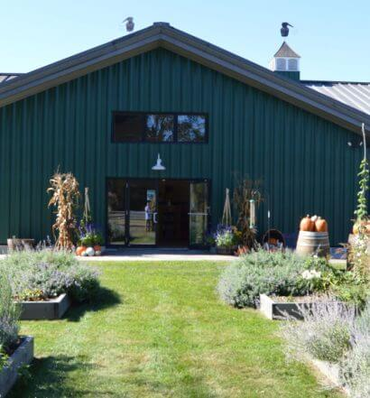 Berkshire Mountain Distillers front entrance and garden, featured image