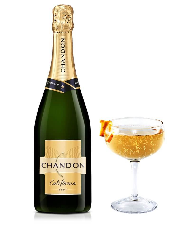 Chandon Fizz, glass and bottle on white